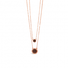 Absolute  Black Double Pave Disc Necklace