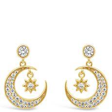 Absolute Half Moon Gold Drop Earrings