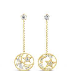 Absolute Long Chain Moon & Star Gold Earrings