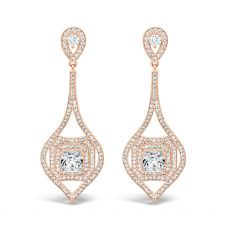 Absolute Rose Gold Long Diamond Earrings