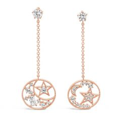 Absolute Long Moon and Star Chain Earring