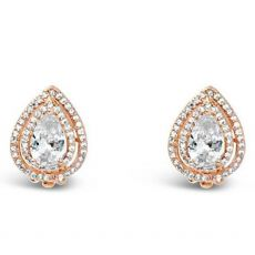 Absolute Rose Gold Two Drop Clip On Earrings