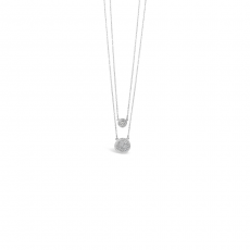 Absolute  Silver Double Layered Short Pave Disc Necklace