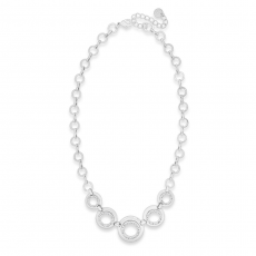 Absolute  Silver Short Circles Necklace