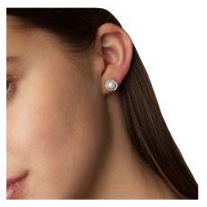Absolute Small Pearl Crystal Silver Stud Earrings
