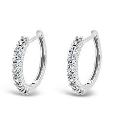 Absolute Sterling Silver Stone Set Hoop Earrings