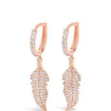 Absolute Stone-Set Leaf Drop Hoop  Rose Gold Earrings