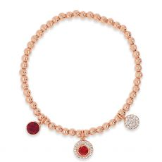 Absolute Rhodium Triple Plated Charm Bracelet Red