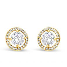 Absolute Yellow Gold Plated Halo Style Stud Earring