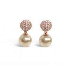 Absolute Crystal Encrusted Rose Gold Pearl Earrings
