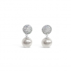 Absolute Crystal Encrusted White Pearl Earrings