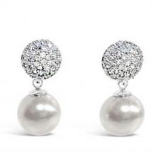 Absolute Crystal Encrusted White Pearl Earrings