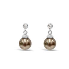Absolute Pearl Crystal Drop Earrings in Bronze