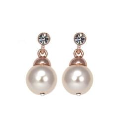 Absolute Pearl Crystal Drop Earrings in Rose Gold