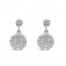 Absolute Round Crystal Pave Drop Earrings
