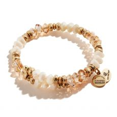 Alex and Ani Blessings Beaded Sandstone and Gold  Wrap Bracelet