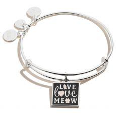 Alex and Ani Live Love Meow Silver Bangle
