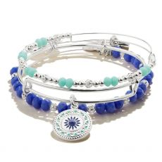 Alex and Ani New Day Set of 3 Blue Beaded Silver Bangles