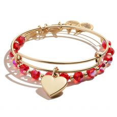 Alex and Ani Set of 2 Heart Gold Bangles