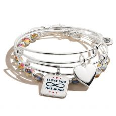 Alex and Ani Set of 3 Heart Silver Bangles