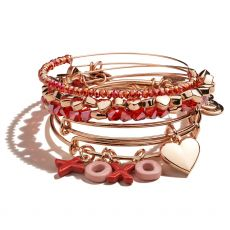 Alex and Ani Set of 5  XOXO Rose Gold Bangles