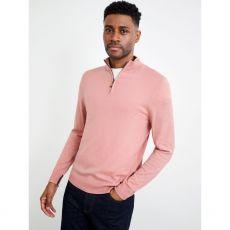 Allder Quarter Zip Neck Jumper Pink model front
