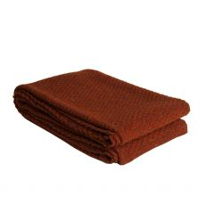 Aran Moss Stitch Texture Rust Throw