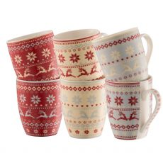 Belleek Aynsley Fairisle 6 Mugs