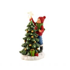 Belleek Boy Placing Angel On Tree Figurine