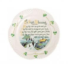 "Belleek Pottery Harp Irish Blessing Plate 9"""