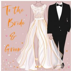 Pink card with bride and groom