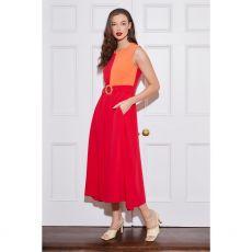 Caroline Freddy Red Colour Block Belted Dress
