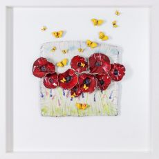 Rebeka Kahn Poppies with Butterflies 53cm x 53cm