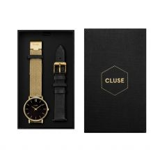 luse gold coloured Minuit watch has a special mesh strap and has a stunning black dial adorned with gold coloured flecks front image