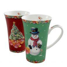 Classic Christmas Latte Mugs Pair
