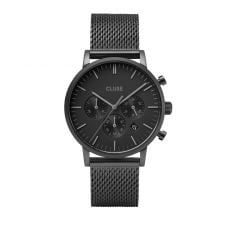 Cluse Aravis Chrono Black Mesh Watch