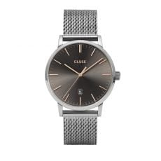Cluse Aravis Mesh Silver Dark Grey Watch