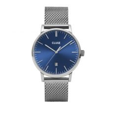 Cluse Aravis Silver Mesh/Dark Blue Watch