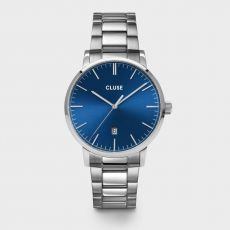 Cluse Men's Aravis 3-Link Dark Blue & Silver Watch