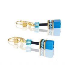 Coeur De Lion Cyan Gold Geo Cube Earrings