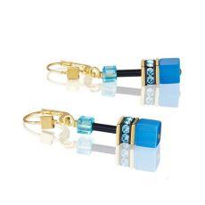 Coeur De Lion Cyan Gold Geo Cube Earrings