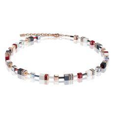 Coeur De Lion Geo Cube Deep Red Necklace