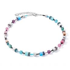 Coeur De Lion Geo Cube Blue/Pink Necklace