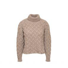 McConnell Woollen Mills Cropped Aran Fawn Sweater M/L