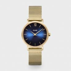 Cluse watch features a 33mm case, with a special deep blue brushed dial face, front image