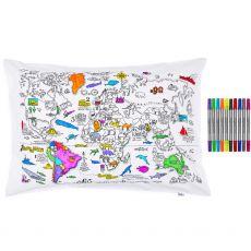 Eat Sleep Doodle World Map Pillowcase