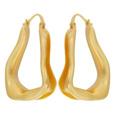 Dansk Smykkekunst Fluid Trinity Hoop Gold Earrings