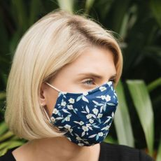 Denim Retro Floral Adult Face Covering
