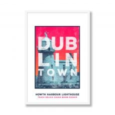 Jando Dublin Town Howth Lighthouse Large Framed