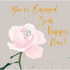 You're engaged rose and diamond ring card